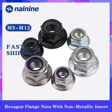 Flange-Nut Non-Slip-Mat Stainless-Steel Hexagonal Nylon M4 M10 M12 M5 M6 M8 M3 DIN6926