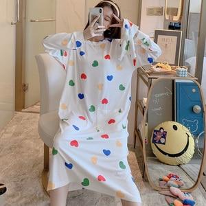 Image 3 - Caiyier zima 2020 kobiet koszula nocna z długim rękawem O Neck koronkowa koszula nocna luźna Casual Sleepshirt dziewczyna z torebka koszula nocna domowa