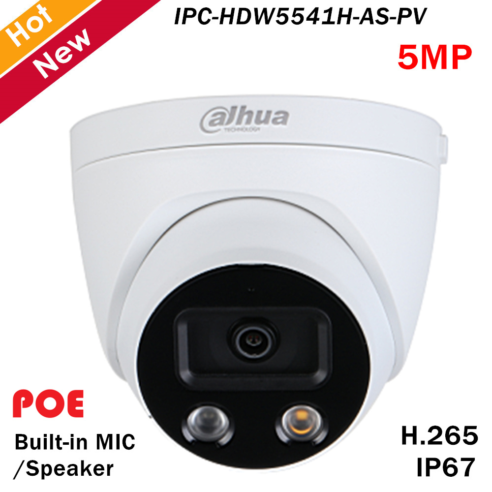 Dahua Pro-AI Series 5MP IR Eyeball Network IP Camera Built-in MIC And Speaker H.265 IR Distance 50m Support SD Card Fixed Lens
