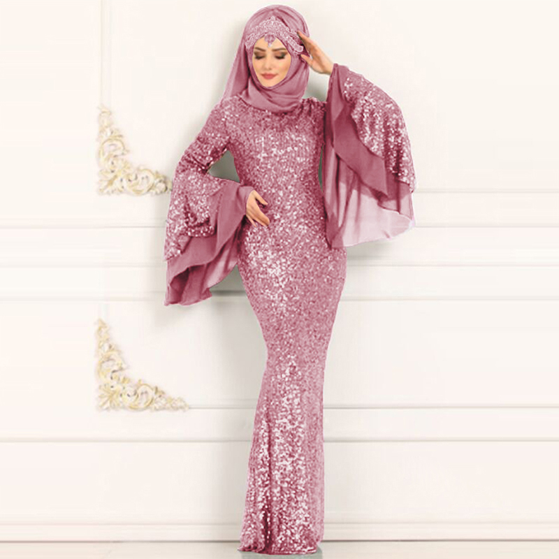 Siskakia Middle East Muslim Women Dress Formal Party Evening Double Layer Big Flare Sleeve Bodycon Dresses Sequined Patchwork