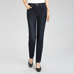 Женские зимние джинсовые штаны, темно-синие, плотные, теплые, с флисовой подкладкой, джинсовые брюки, женские, с высокой талией, на молнии, сп...