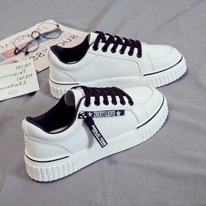 Image 4 - SWYIVY baskets vulcanisées pour femme, baskets blanches vulcanisées, chaussures à plateforme, printemps automne, à lacets