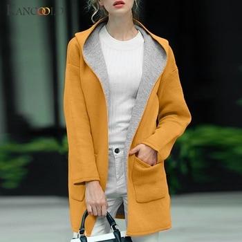 KANCOOLD coats Women Fashion Solid Button Cardigan Hooded Coats Pocket Splice Long Sleeve new coats