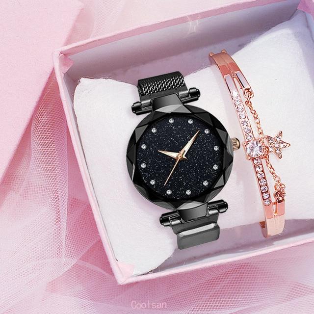 Femmes de luxe montre mode élégant aimant boucle Vibrato violet dames montre-bracelet ciel étoilé romain diamant montre à Quartz cadeau 3