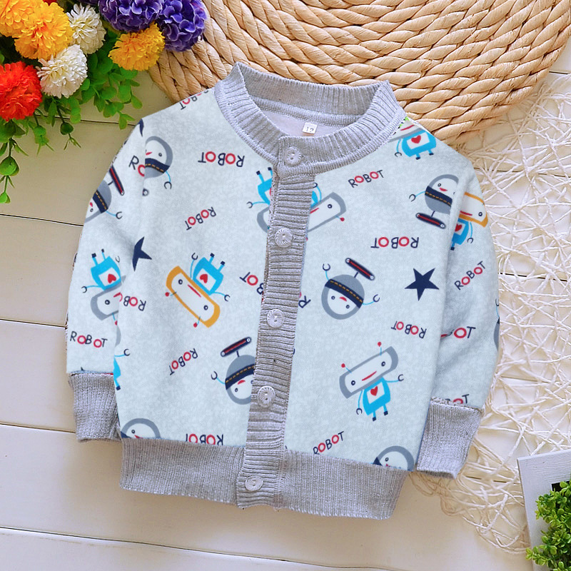 New Style Children Kids Sweater Autumn Baby Girl Boy Cartoon Pattern Cardigan Casual Outerwear Coat Clothes