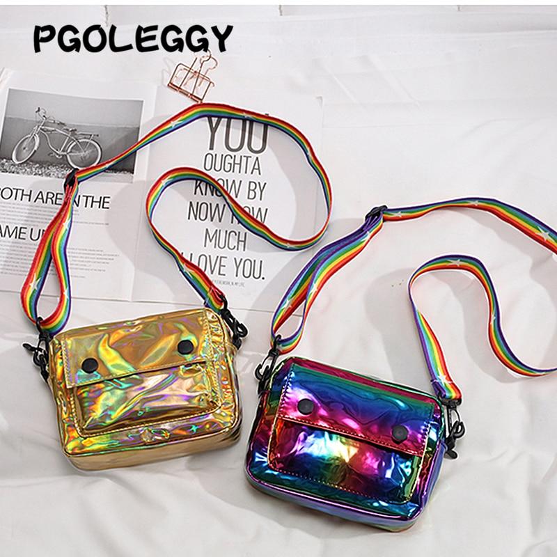 Image 5 - PGOLEGGY Laser Crossbody Bags for Women 2019 Fashion handbag  luxury women PU leather shoulder bags for travel waterproof  handbagShoulder Bags