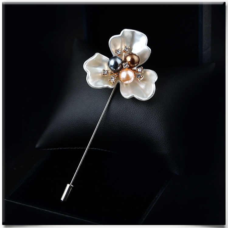 Aku-Remiel 2018 Fashion Baru Sweater Bros Mawar Korsase Bunga Camellia Jarum Panjang Pin untuk Wanita Selendang Kerah Kemeja aksesoris