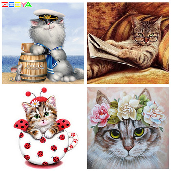 ZOOYA Needlework Diamond Painting Wall Sticker Full Drill The Diamond Embroidery Mosaic Pattern Cat On The Sea Mouse Casks R373 image