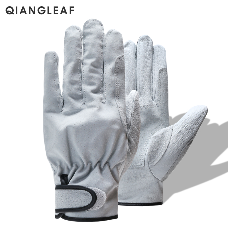 QIANGLEAF Brand White Work Safety Glove Mechanic Working Gloves Ultrathin Microfiber Leather Glove Wholesale Free Shipping CS1