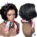Sunnymay 13x4 Peluca de Bob 130% Peluca de pelo humano frente de encaje ondulado con pelo de bebé sin pegamento Remy corto pelucas delanteras de encaje nudos blanqueados
