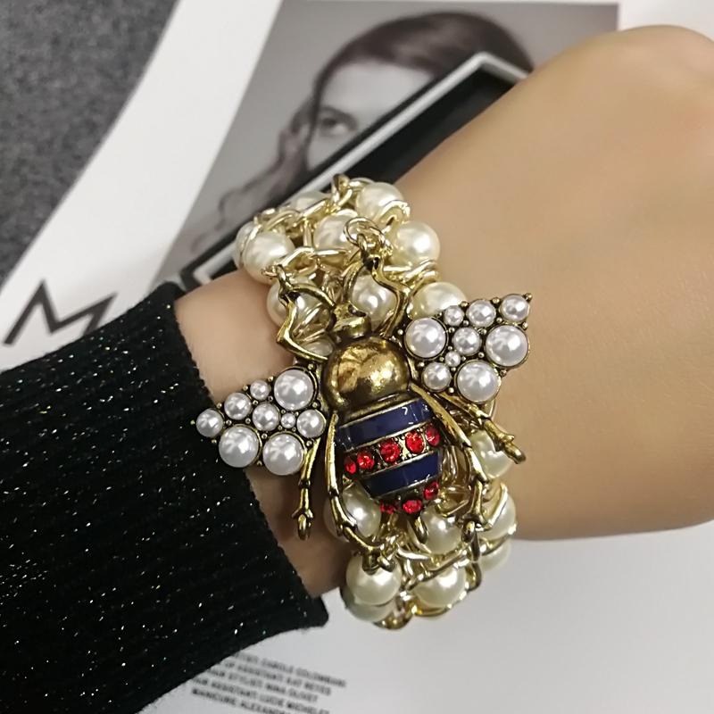 Luxury Handmade Elastic Pearl Bee  Bracelet Bangle Jewelry For Women Party Gift