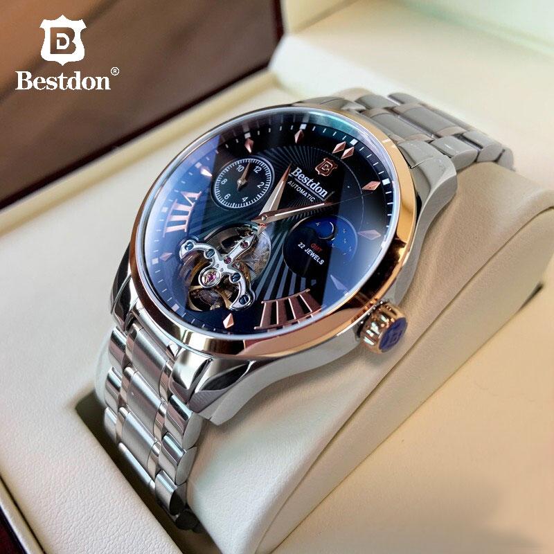 سويسرا التلقائي ساعة ميكانيكية الرجال Bestdon الفاخرة العلامة التجارية توربيون الساعات الصلب الكامل مقاوم للماء Relogio Masculino 7113G-في الساعات الميكانيكية من الساعات على
