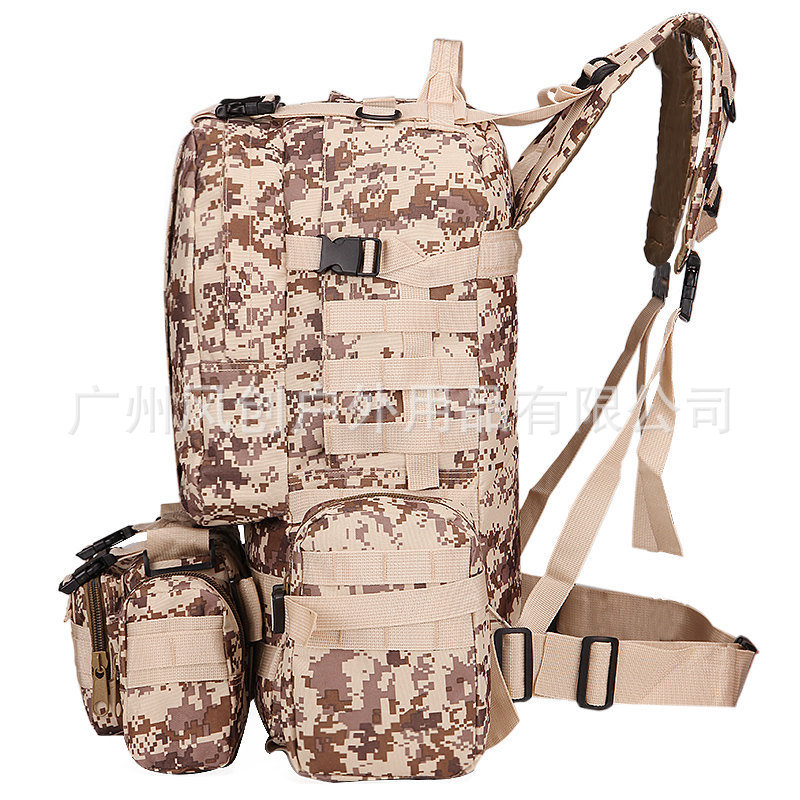 60L Multi-functional Combination Backpack Army Fans Tactical Backpack Of 3P Wallet Outdoor Large-Volume Camouflage Mountaineerin
