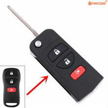Pinecone para nissan livina x-trail gennis tiida sylphy 2 + 1 botão chave modificado flip dobrável carro chave fob escudo caso
