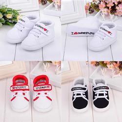 Baby Schoenen Baby Kid Jongen Meisje Zachte Zool Canvas Sneaker Peuter Schoenen I Love Papa & Mama Brief Gedrukt Pasgeboren eerste Wandelaar Schoenen
