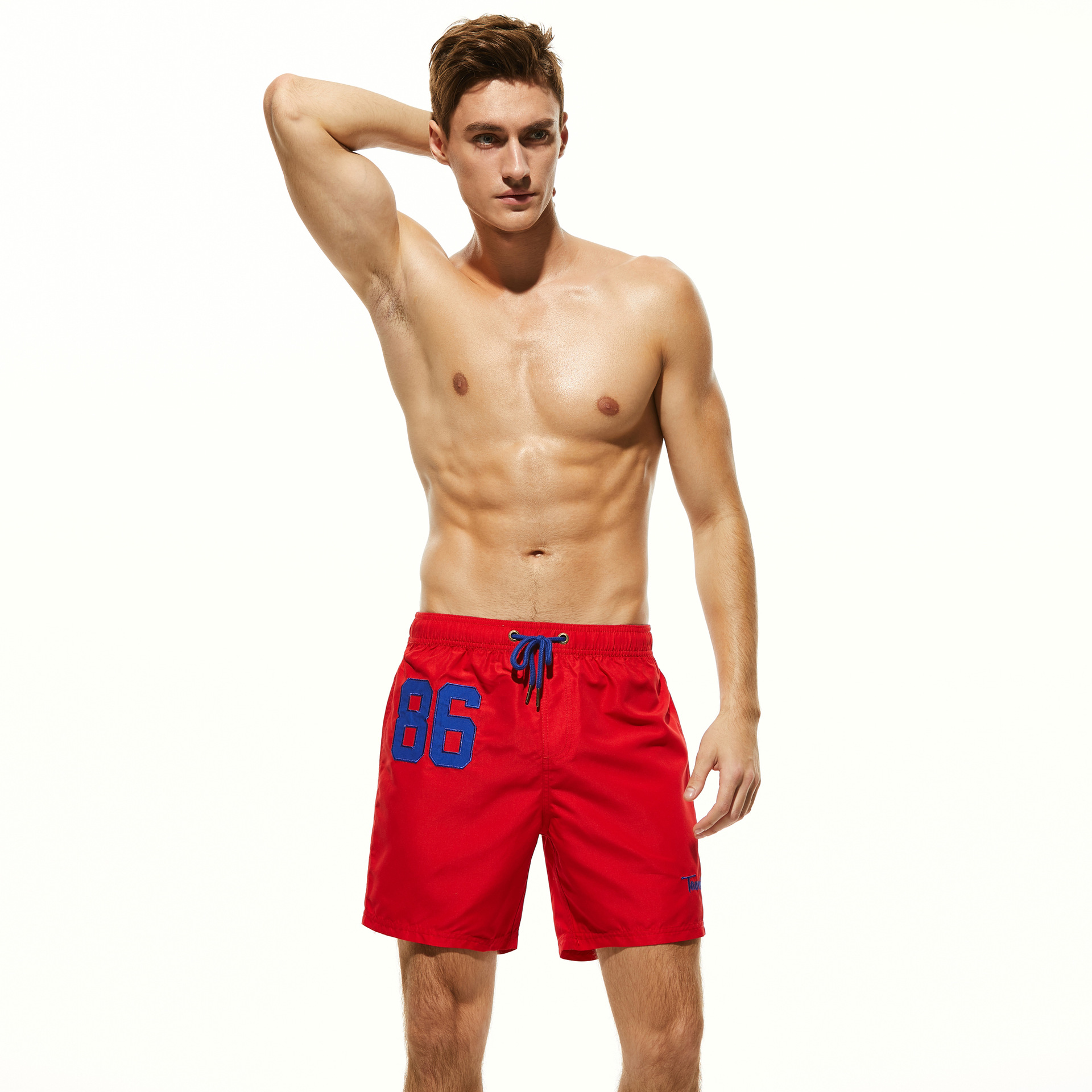 For Tauwell Summer New Style MEN'S Beach Pants Solid Color Sports Casual Shorts Quick-Dry Fashion 3 Pants