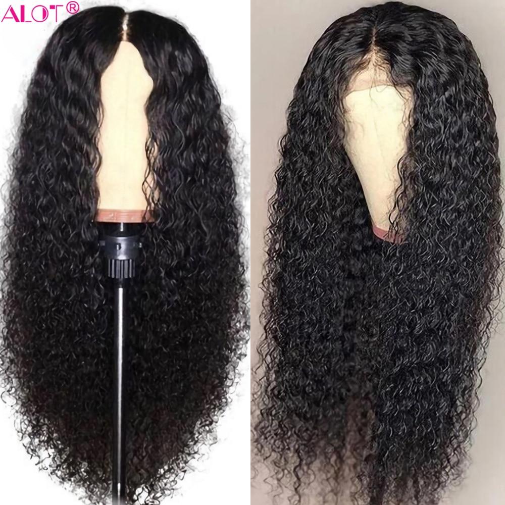 Encaracolado peruca de cabelo humano brasileiro kinky encaracolado parte do laço perucas de cabelo humano para as mulheres remy 13 × 1 perucas da parte dianteira do laço cabelo humano pré arrancado