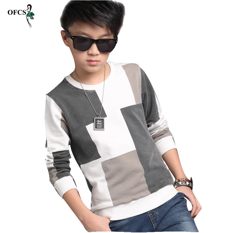 Fashion New Hot Sale Autumn Boys Sweater Cotton T-Shirt Blazer Grid Design Children Sports Casual  Knit Pullovers Fleece 5-16 T