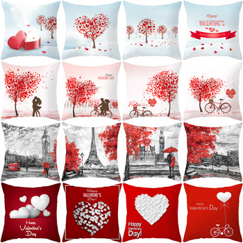 цена на Love Tree Pillow Cases Print Valentines Day Throw Waist Pillow Cover Wedding Bed Pillowcase Polyester Cushion Cover Home Decor