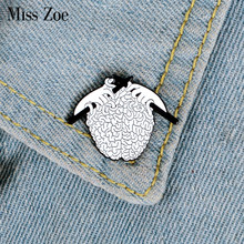 Knitting Sweater Enamel Pin Organ Brain Brooches Bag Clothes Lapel Pin Punk Fun Badge Medical Jewelry Gift for Doctor(China)