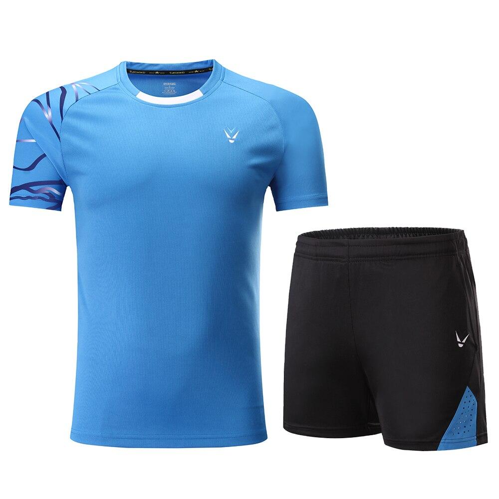 Комплекты для мужчин и женщин, футболки для бадминтона, черная рубашка для бадминтона, рубашка для бадминтона для мальчиков, Униформа, комплекты для настольного тенниса, шорты, одежда - Цвет: Blue