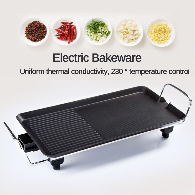 1200W Household Electric Ovens Smokeless Nonstick Barbecue Machine Electric Hotplate BBQ Tools Teppanyaki Grilled Meat Pan 220V