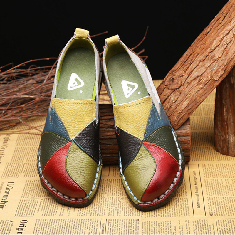 Spring Summer New PU Leather Women Flats Mixed Color Slip on Shoes for Women Moccasins Ladies Shoes Zapatos De Mujer VT660 (10)
