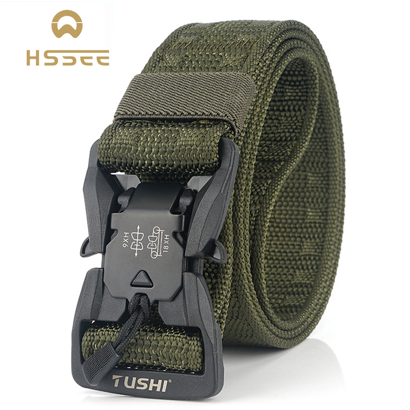 HSSEE Official Genuine Tactical Belt Hard PC Quick Release Magnetic Buckle Military Belt Soft Real Nylon Sports Accessories 1