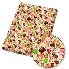 Tecido de algodão de poliéster sorvete doces impresso pano folhas para diy máscara/vestido/saco artesanato acessórios casa têxtil 45*145cm 1pc