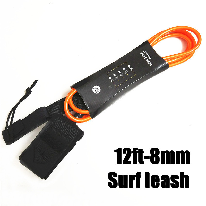 Orange Surf Surfboard Leash 12ft-8mm Leash Para Surf Rope SUP Surfboard Leash Surfing Stand Up Paddle Board Leash