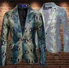 Colorblock skóra węża marynarka garnitury męskie wzory kurtka męskie kostiumy sceniczne dla piosenkarki ubrania dance star stylowa sukienka b447 tanie tanio COTTON Poliester Krótki Mieszkanie Proste Zipper fly Anglia styl