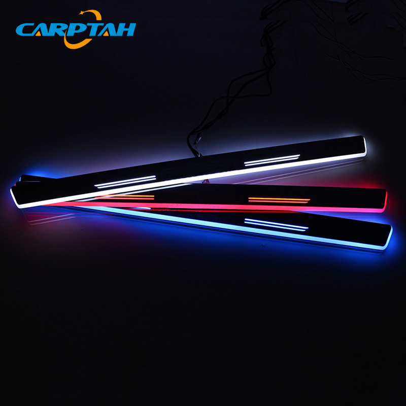 CARPTAH Trim Pedal Car Exterior Parts LED Door Sill Scuff Plate Pathway Dynamic Streamer light For Mercedes Benz W204 W205 Sedan