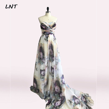Sleeveless Floral Print Evening Dresses Sweetheart Neckline Long Formal Occasion Dress Custom