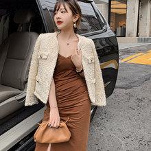 Womens jacket coat tweed Woven wire fabric spring / autumn winter new Wool classic Ladies woolen