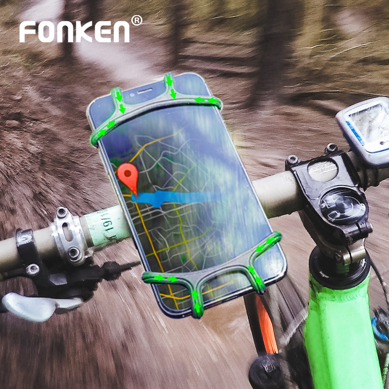 FONKEN Non-slip Bicycle Phone Holder Universal Silicone Mountain Bike Motorcycle Mobile Holder Stands For 4.5 6inch Phone Brackt