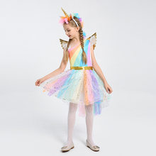 Children's costumes Halloween Cosplay Costume Unicorn Dress Child Stage Show Girls Rainbow Tutu Dress Birthday Party Wear(China)