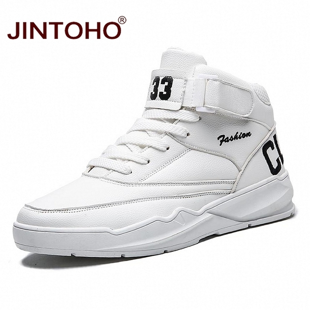 JINTOHO Men Winter Boots Fashion White Leather Sneakers Casual Mens Ankle Boots Male Leather Boots Winter Men Shoes Men Booties