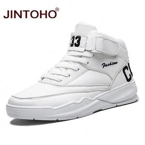 Image 1 - JINTOHO mężczyźni zimowe buty moda białe skórzane trampki Casual męskie botki męskie skórzane buty zimowe męskie buty męskie botki