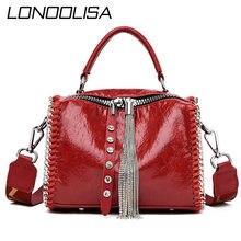 Fashion Tassel Women Bags Wave Chain Leather Shoulder Bag Solid Handbags Retro Casual Rhinestones Rivet Messenger Bags Bolsos
