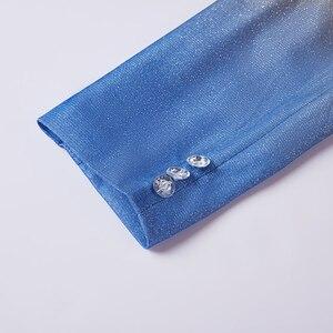 Image 5 - PYJTRL erkek moda degrade renk parlak altın mavi şampanya pembe siyah Slim Fit Blazer sahne şarkıcı balo elbise takım elbise ceket