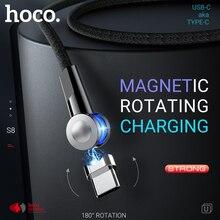 HOCO สาย USB สำหรับ Type C หมุนได้แม่เหล็ก Charger Fast ชาร์จมุมขวาสำหรับ Samsung Xiaomi Huawei ไนลอน USB C
