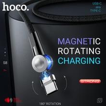 USB C magnétique hoco pour chargeur magnétique rotatif de Type C charge rapide à angle droit pour USB C en nylon Samsung Xiaomi Huawei