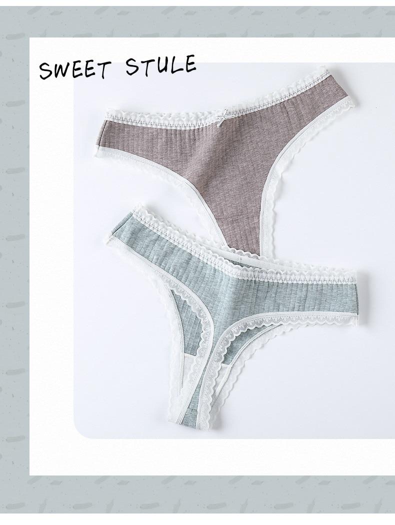 3 Pcs/Set Women Panties G-String Underwear Fashion Thong Sexy Cotton Ladies Lingerie Solid Low Rise Panty - underwear