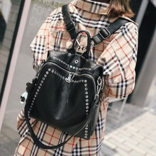 Women Leather Backpack Female 2020 New Casual Backpack Personality Wild Rivet Ladies Multifunctional Travel Bag Mochila