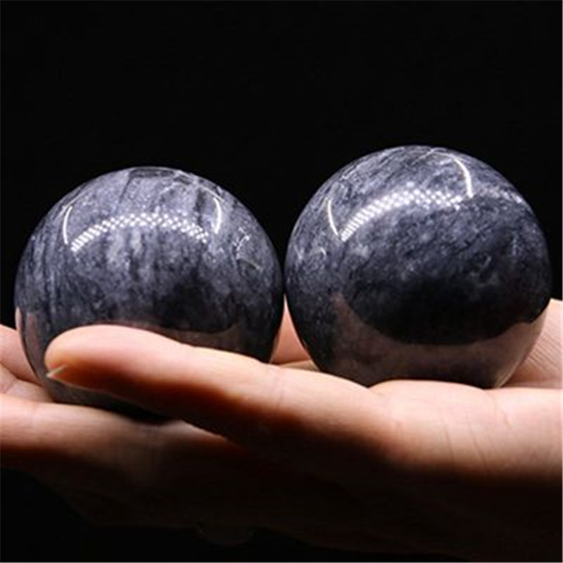 50mm Natural Jade Baoding Balls Hand Wrist Solid Fitness Handball Health Exercise Stress Relaxation Therapy Chrome Hand Massage