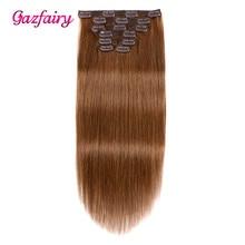 Gazfairy, человеческие волосы для наращивания на заколках, 20 дюймов, 7 шт., 100 г, 16 клипов, на всю голову, прямые волосы remy, двойной уток, натуральный цвет, для белого цвета