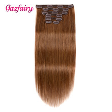 """Gazfairy Clip in Human Hair Extensions 20"""" 7pcs 100g 16 Clips Full Head Straight Remy Hair Double Weft Natural Color For White"""