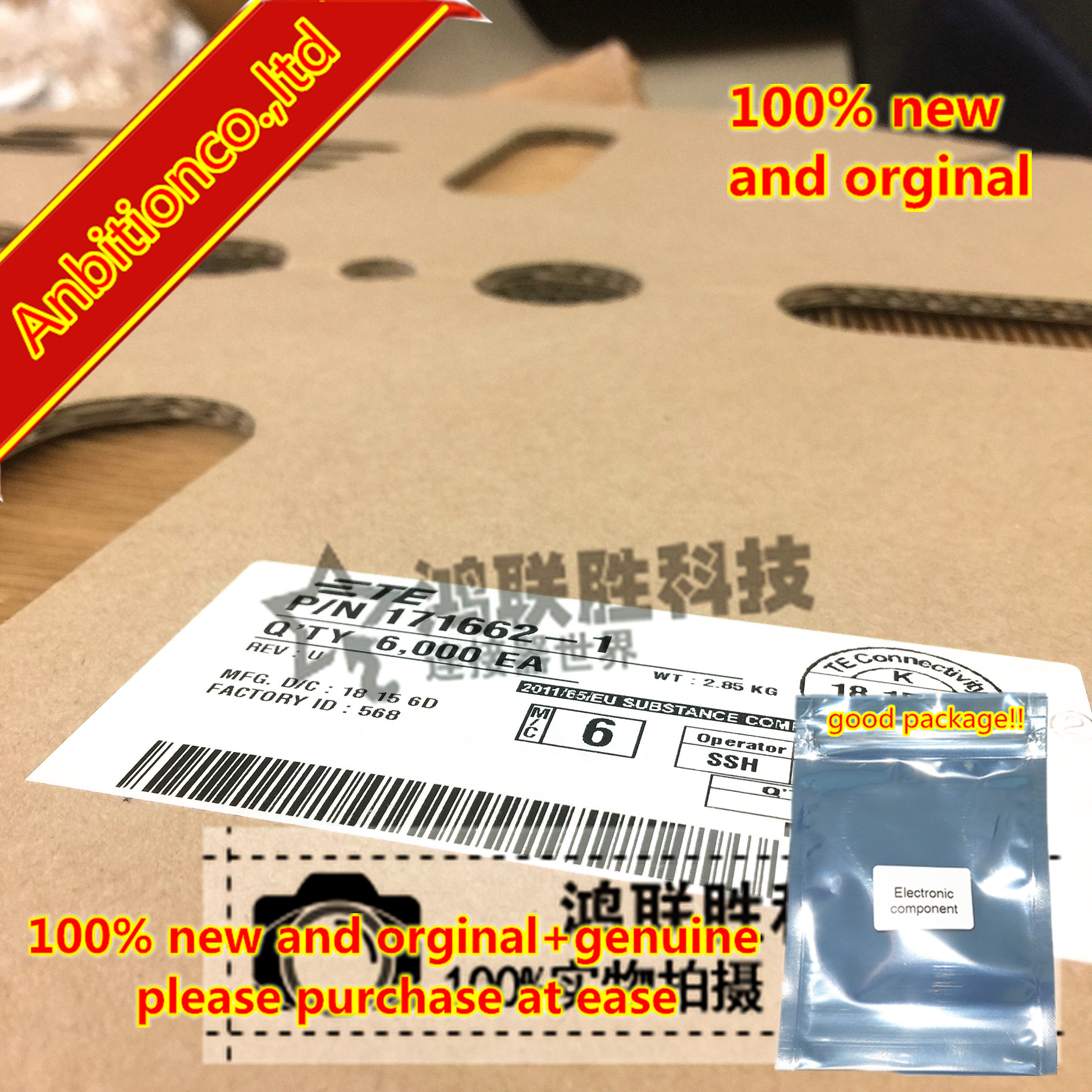 10-100pcs 100% New And Orginal Terminal 171662-1 Diameter: 16-20AWG In Stock