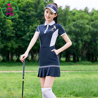Summer New Golf Apparel Clothing Women's Short Sleeved Skirt Dark Blue Sports Wear Lady Mid length High elastic Dress MG Uniform