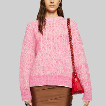 Woman Sweaters 2020 Brand Designer Loose Lazy Lady Jumper Oversize Pink Knitted Mohair Pullover Sweater комбинезон pink woman pink woman pi026ewgotw3